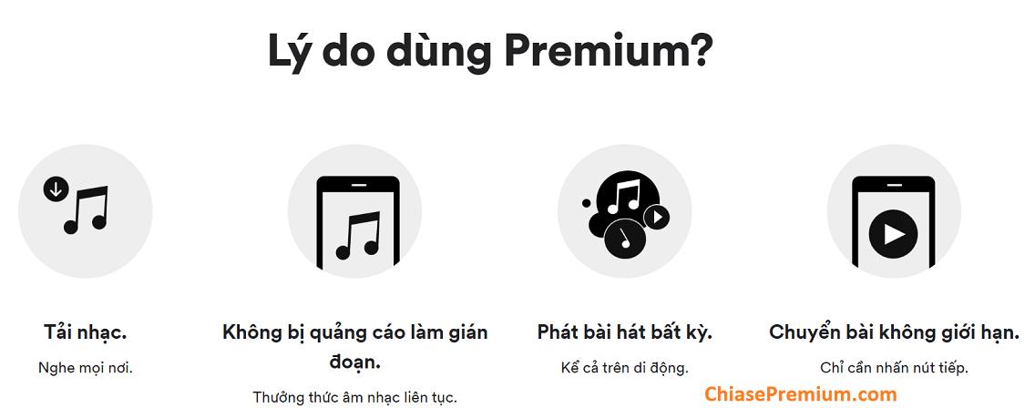 Tính năng cơ bản của tài khoản Spotify Premium.