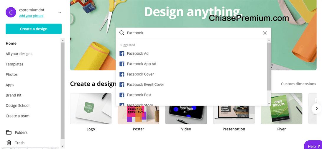Chọn mục đích thiết kế của bạn bằng cách nhập từ khóa vào ô tìm kiếm
