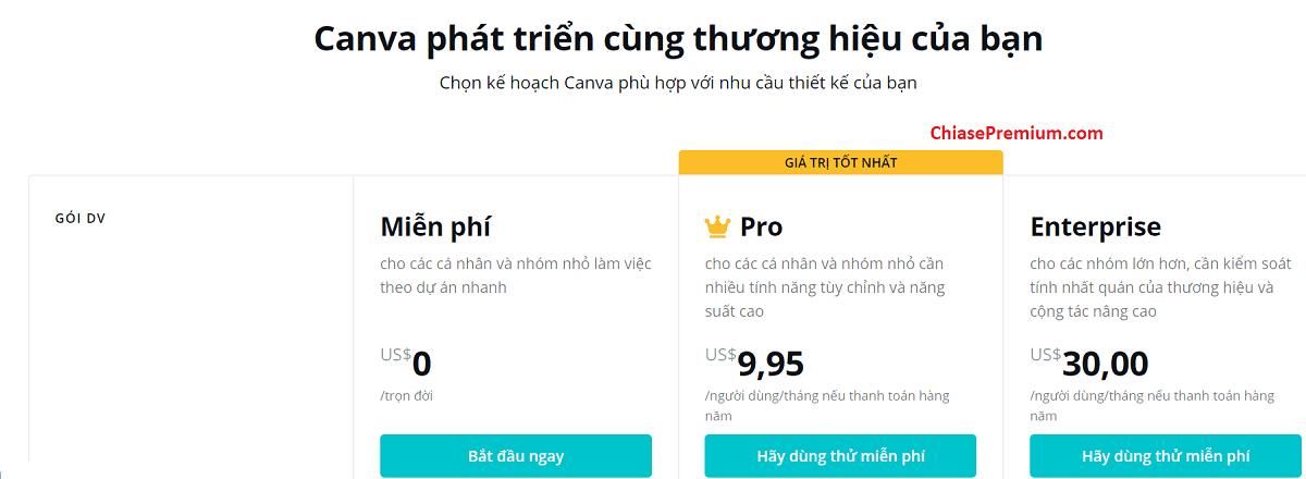 Các mức phí bạn phải trả khi muốn sử dụng các tính năng cao cấp của tài khoản Canva Pro.