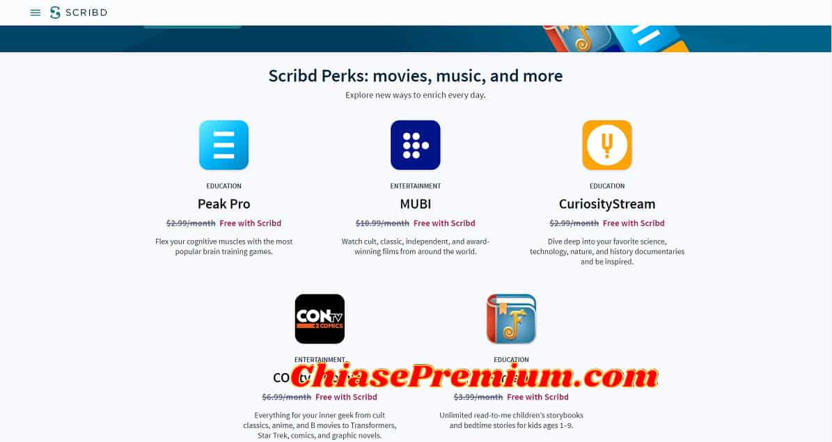 Scribd Perks: movies, music, and more