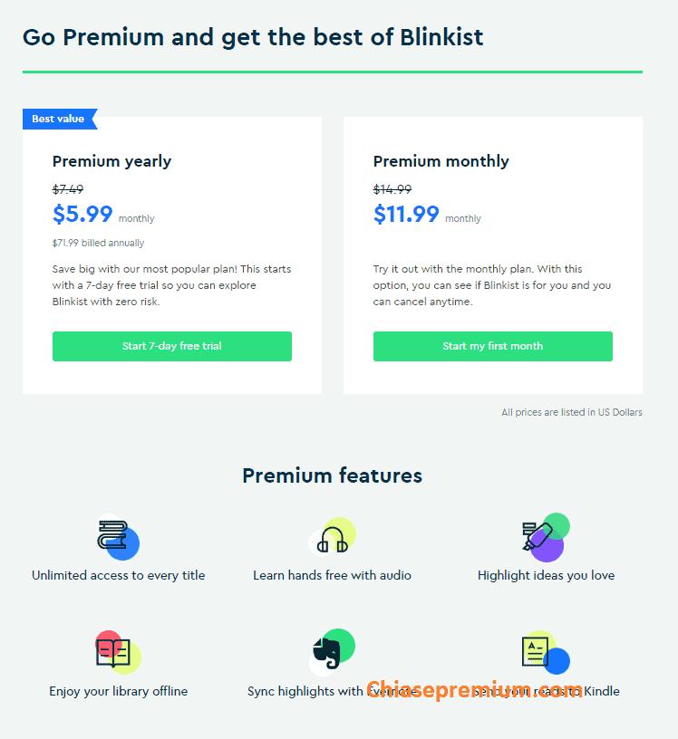 Mức phí đăng ký mua tài khoản Blinkist premium