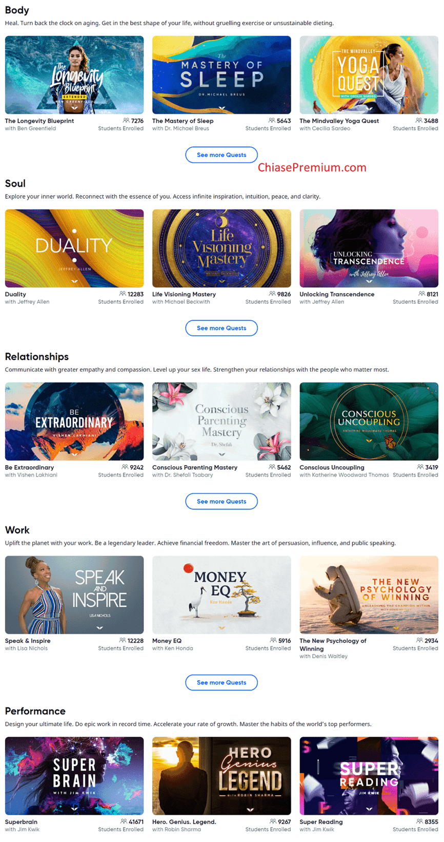 MindValley cung cấp nhiều nội dung tuyệt vời dành cho những người muốn đạt được sự cả cân bằng ở cả ba khía cạnh là Trí tuệ, Thể chất và Tinh thần