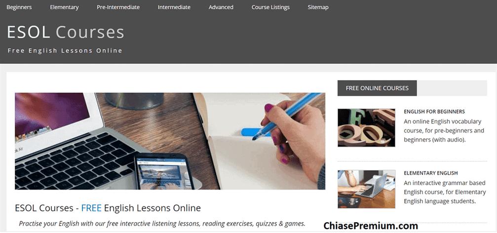 ESOL cung cấp rất nhiều khóa học tiếng Anh trực tuyến miễn phí