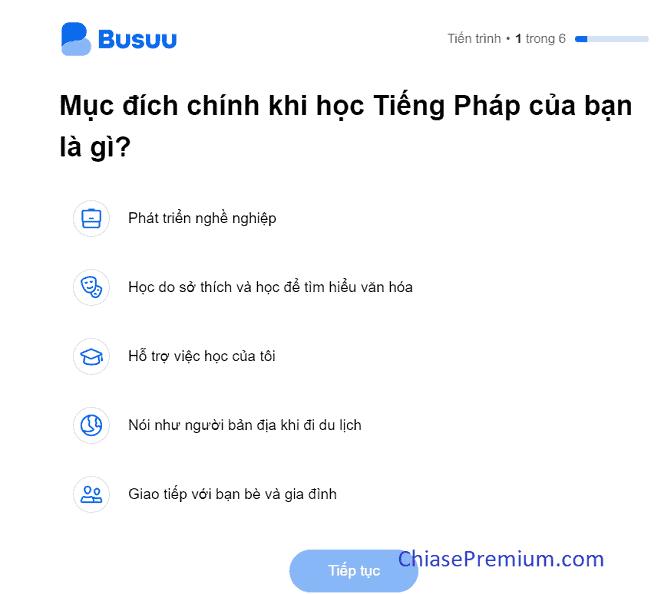 Bai kiem tra dau vao khi truy cap Busuu - Học nhiều ngoại ngữ với tài khoản Busuu Premium Plus 1 năm