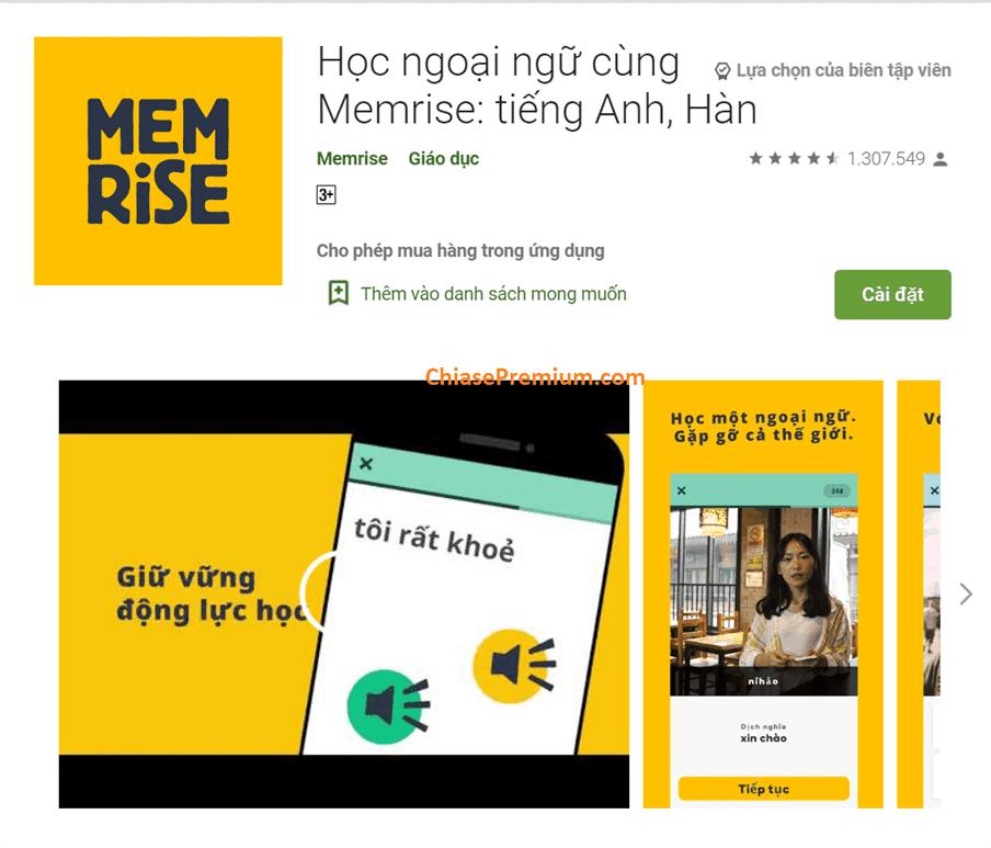 Memrise là ứng dụng học ngoại ngữ được người dùng đánh giá cao.