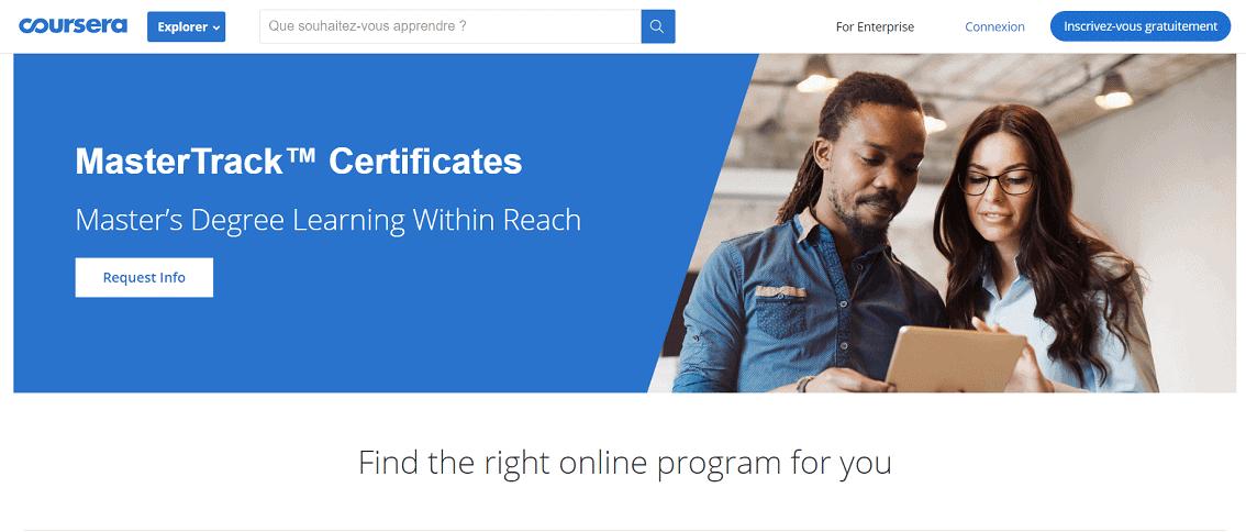 Bạn có thể học thạc sĩ online thông qua chương trình học trực tuyến trên Coursera