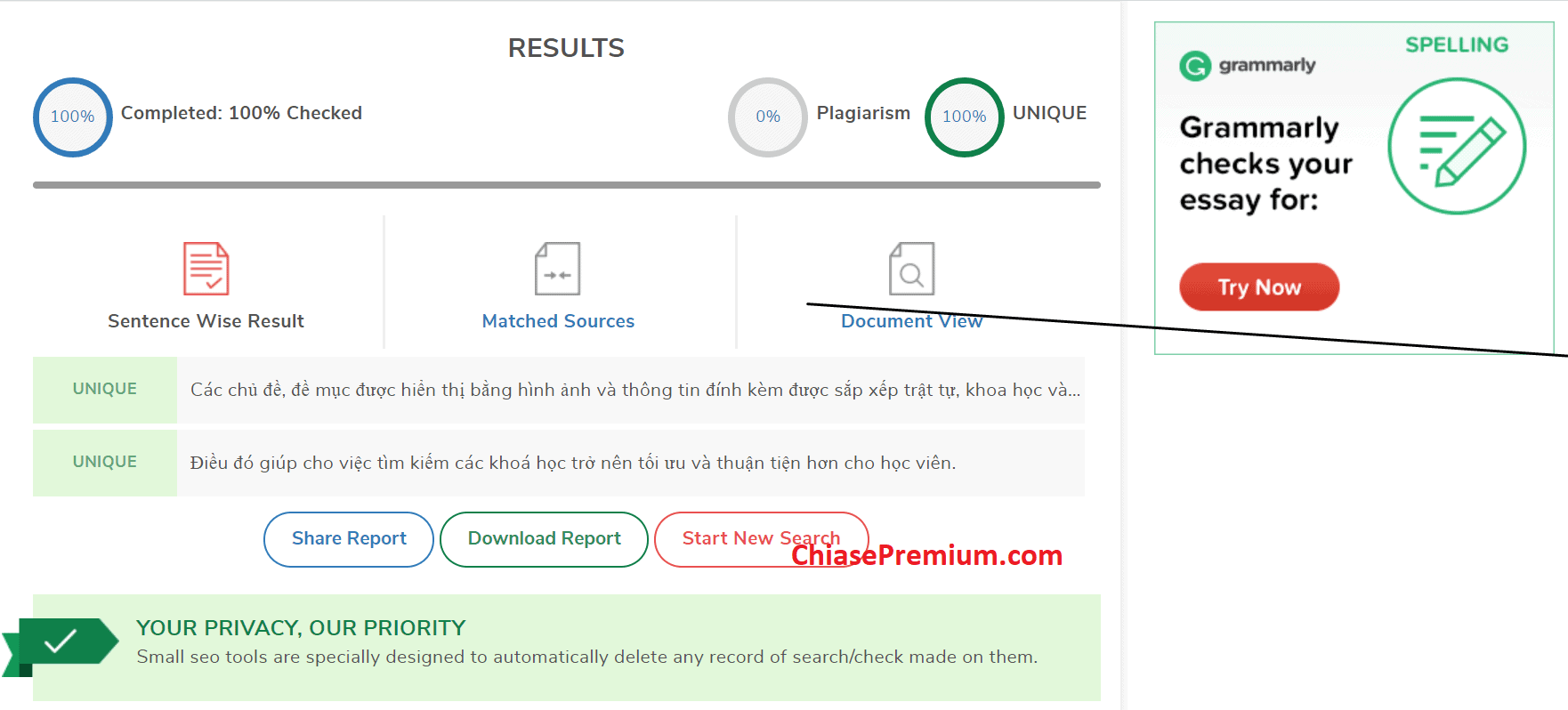 Kết quả kiểm tra ở tài khoản Smallseotools miễn phí.
