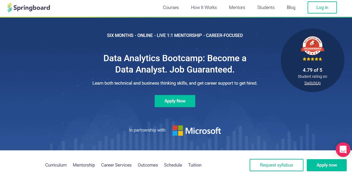 Bootcamp Data Analytics của Springboard được phát triển dựa trên sự hợp tác với Microsoft