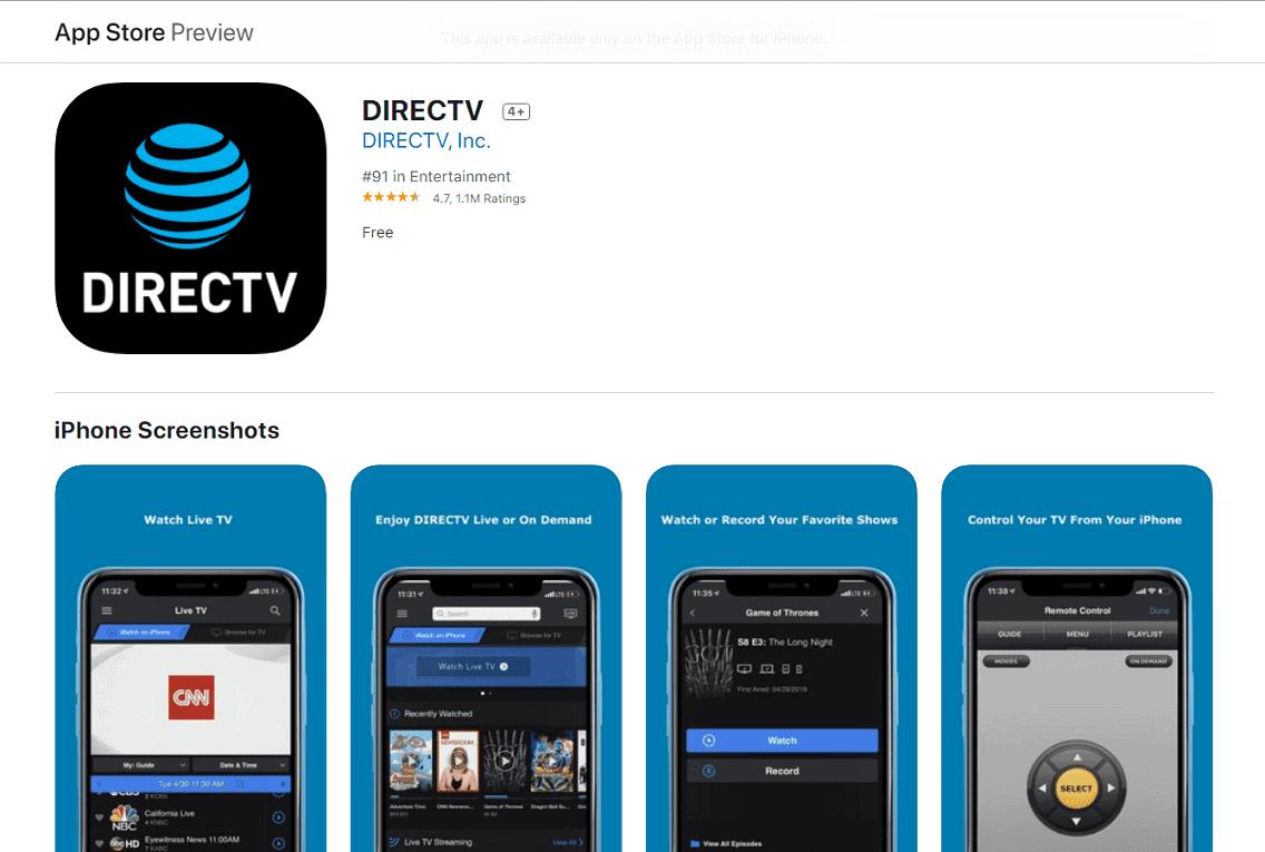 Ứng dụng DirecTV được đánh giá rất cao trên chợ ứng dụng Apple