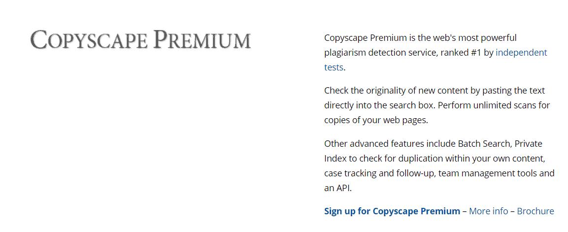 Khả năng kiểm tra đạo văn của Copyscape là tốt nhất hiện nay.