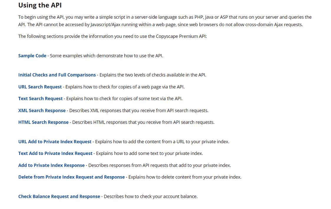Copyscape hỗ trợ API tốt