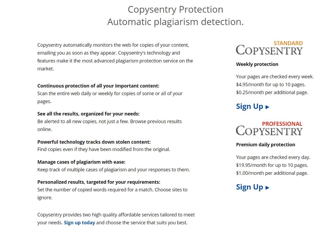 Copysentry là một dịch vụ mới của Copyscape.