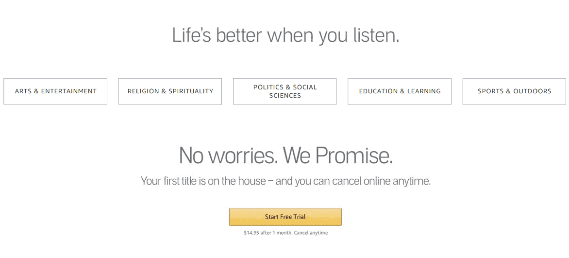 Hủy đăng ký Kho sách nói trên tài khoản Amazon Audible