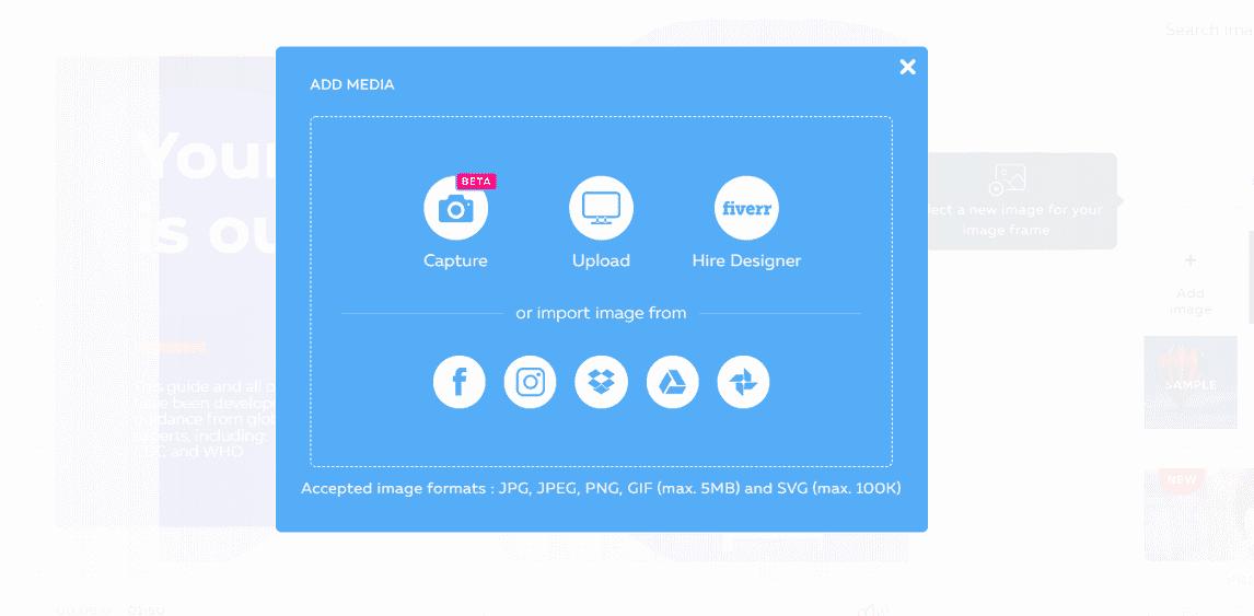 Bạn có thể upload file đồ họa từ các dịch vụ đám mây.