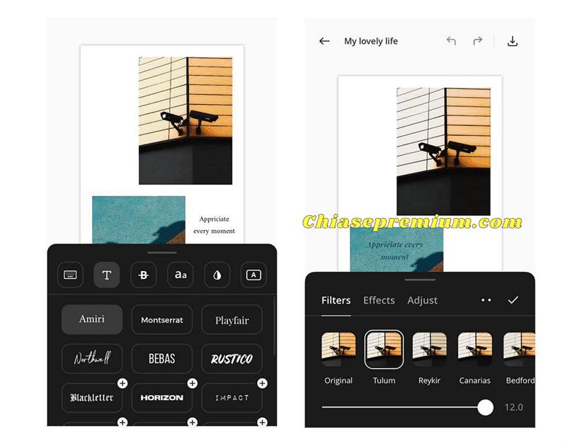 Thanh công cụ chỉnh sửa Ảnh và Text với nhiều chức năng, giúp bạn sáng tạo nhanh chóng.